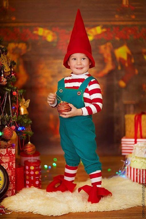 Детские карнавальные костюмы ручной работы. Ярмарка Мастеров - ручная работа. Купить рожденственский гномик мальчик. Handmade. Разноцветный, гном