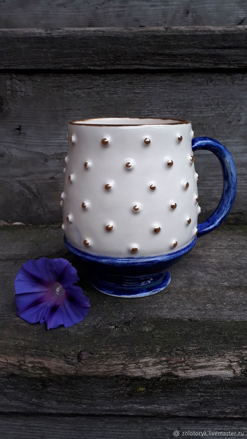 Mug with pimples, hand-painted and gilded, Mugs and cups, Bobrov,  Фото №1