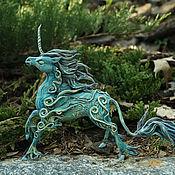 Куклы и игрушки ручной работы. Ярмарка Мастеров - ручная работа Лунный Единорог Статуэтка (бирюзовый синий волшебный ) лошадь. Handmade.