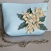 Сумки и аксессуары handmade. Livemaster - original item Leather bag .Bag with applique.Mini Hydrangea blue. Handmade.