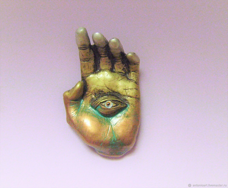 Hamsa on wall Hamsa protection from evil eye Hand with eye Open palm, Amulet, Chelyabinsk,  Фото №1
