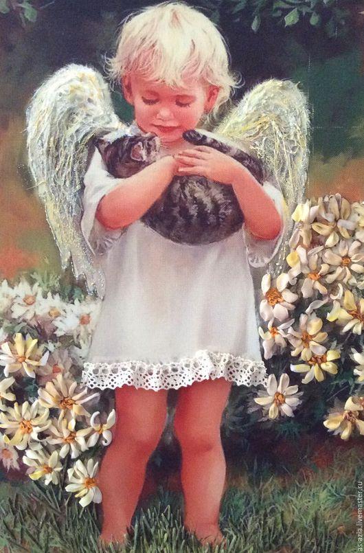Люди, ручной работы. Ярмарка Мастеров - ручная работа. Купить Ангел с котёнком. Handmade. Белый, ангел и кошка, атласные ленты