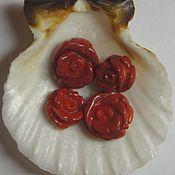 handmade. Livemaster - original item Mother-of-pearl carved half-drilled red rose. Handmade.