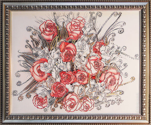 Декоративная картина «Коралловые розы» Художник-дизайнер - Елена Луцик
