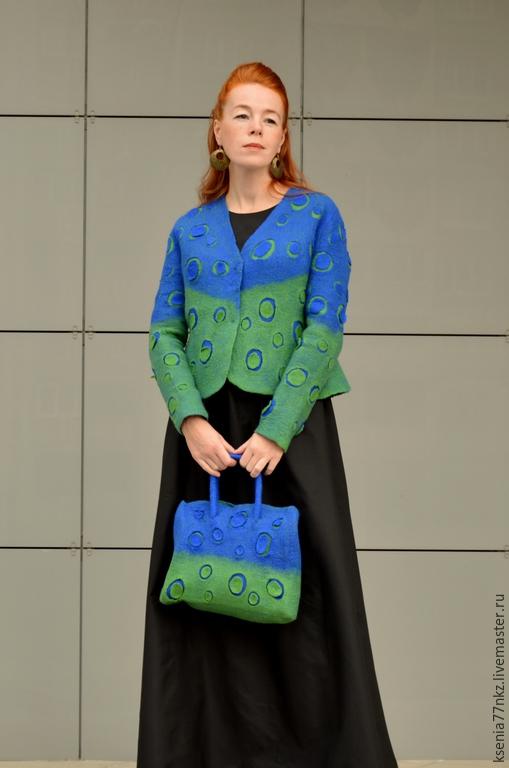 """Верхняя одежда ручной работы. Ярмарка Мастеров - ручная работа. Купить Куртка """"Луномания"""". Handmade. Синий, жакет из войлока"""