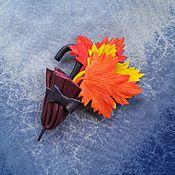 """Украшения ручной работы. Ярмарка Мастеров - ручная работа Брошь """"Осенняя симфония"""" из натуральной кожи.. Handmade."""