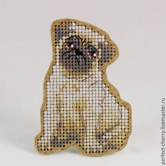 """Вышивка ручной работы. Ярмарка Мастеров - ручная работа. Купить Набор для вышивания броши """"Мопс"""" - ВВ-15. Handmade. Сувенир"""