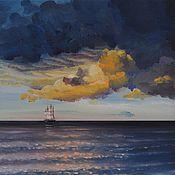 handmade. Livemaster - original item oil painting Sea. Sailboat. Handmade.
