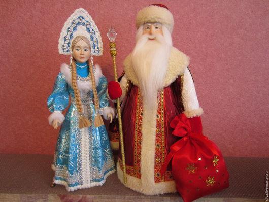 Куклы Дед Мороз и Снегурочка - авторские фарфоровые куклы. Снегурочка в русском кокошнике. Прекрасные куклы ручной работы для детей и взрослых. Самые любимые персонажи русских народных сказок.
