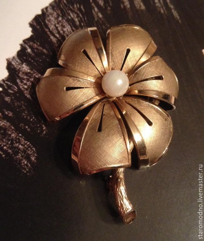 Винтажная брошь-цветок `Вербена`.