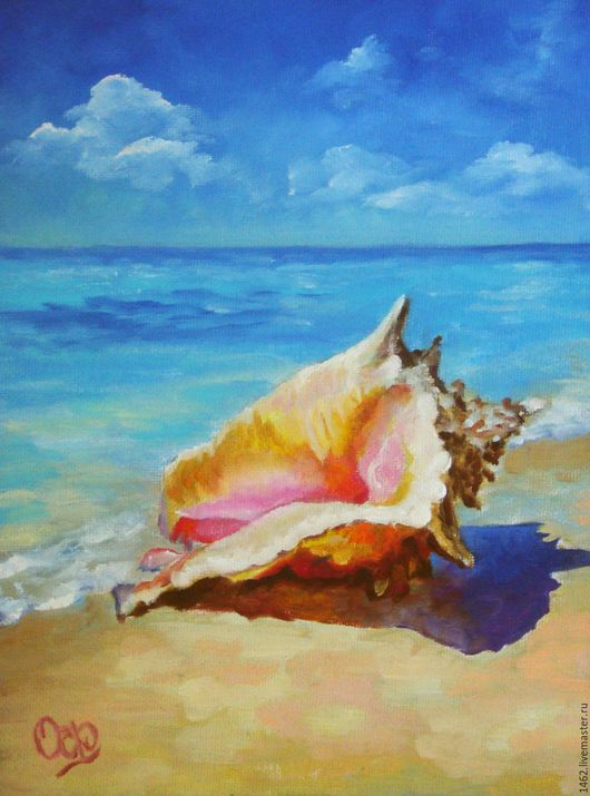 """Пейзаж ручной работы. Ярмарка Мастеров - ручная работа. Купить Картина маслом """"Ракушка"""". Handmade. Бирюзовый, песок, облака, тепло"""