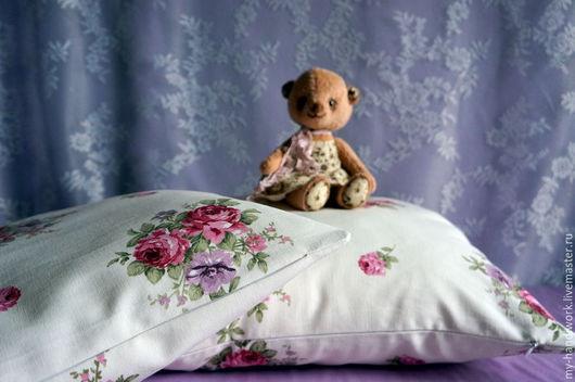 """Текстиль, ковры ручной работы. Ярмарка Мастеров - ручная работа. Купить Наволочки на подушки """"Романтика"""". Handmade. Белый, шебби розы"""