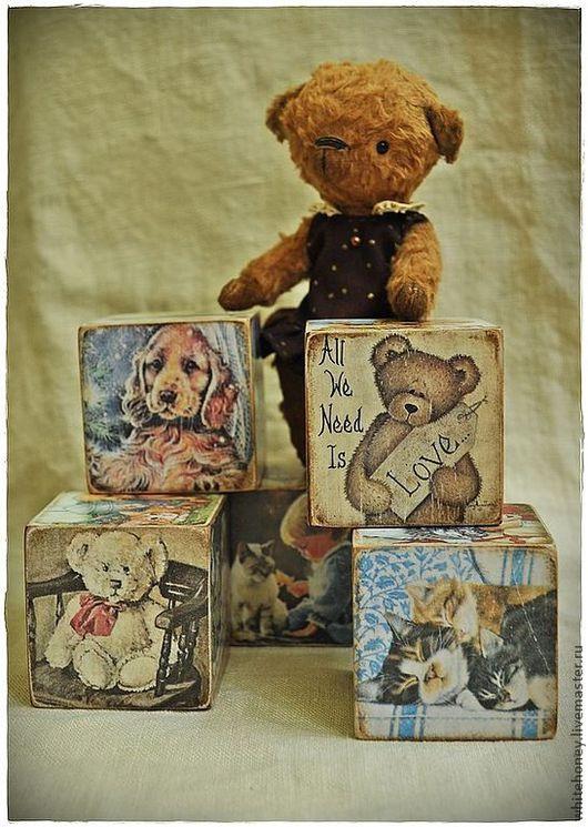 """Развивающие игрушки ручной работы. Ярмарка Мастеров - ручная работа. Купить Кубики """"Верные друзья"""". Handmade. Кубики, дети, медведь"""