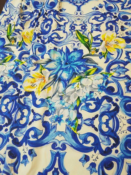"""Шитье ручной работы. Ярмарка Мастеров - ручная работа. Купить 15% Кади вискозное """"Майолика"""" коллекция D&G ткань Италия. Handmade."""