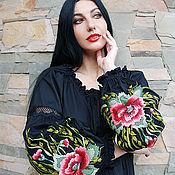 Одежда handmade. Livemaster - original item Embroidered black dress knee length