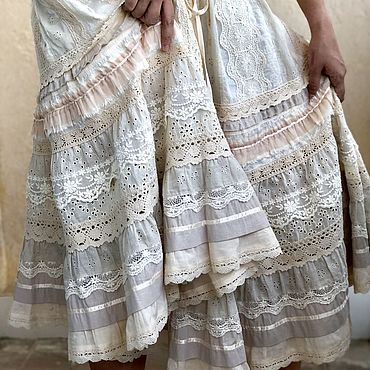 Clothing handmade. Livemaster - original item Skirt of sewing and lace in boho style
