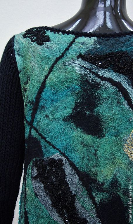 Felted sweater Turquoise black, Sweaters, Moscow,  Фото №1