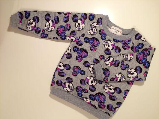 """Одежда унисекс ручной работы. Ярмарка Мастеров - ручная работа. Купить Свитшот """"Фиолетовые Микки"""". Handmade. Свитшот, свитшот на заказ"""