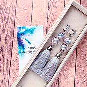 Украшения handmade. Livemaster - original item Earrings tassels Octavia silk, Swarovski. Handmade.