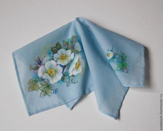 Носовые платочки ручной работы. Ярмарка Мастеров - ручная работа. Купить ... Краше садовых роз.... Handmade. Рисунок, цветы, открытка