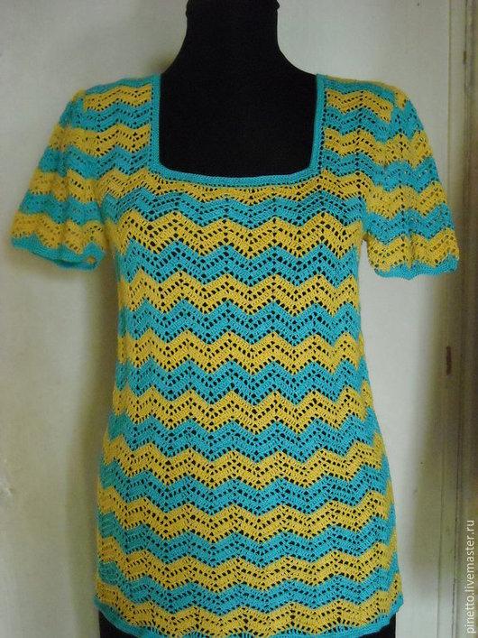 """Блузки ручной работы. Ярмарка Мастеров - ручная работа. Купить Блузка летняя """"Разноцветное счастье"""". Handmade. Разноцветный, зигзаг"""