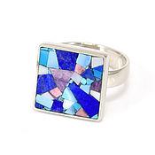 Украшения handmade. Livemaster - original item RING with lapis lazuli, turquoise, rhodonite, mother of pearl. Size 17-17.5. Handmade.