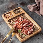 Посуда handmade. Livemaster - original item Oak feeding board with three compartments small. Handmade.