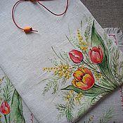 Для дома и интерьера handmade. Livemaster - original item Linen napkins and pouches with painting... Spring tyulpanyi and Mimosas.. Handmade.