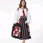 Одежда ручной работы. Ярмарка Мастеров - ручная работа Шикарная юбка и блуза из льна с вышивкой. Handmade.