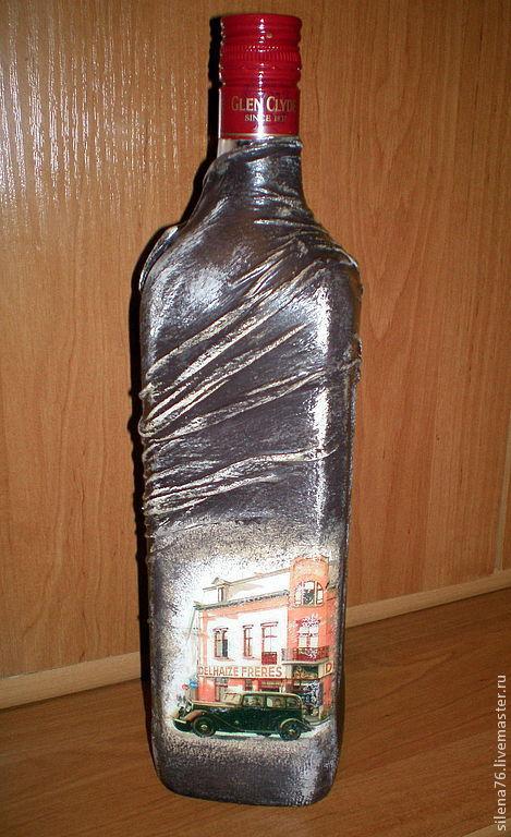 """Персональные подарки ручной работы. Ярмарка Мастеров - ручная работа. Купить Декор бутылок """"Настоящему мужчине"""". Handmade. Коричневый, распечатка"""