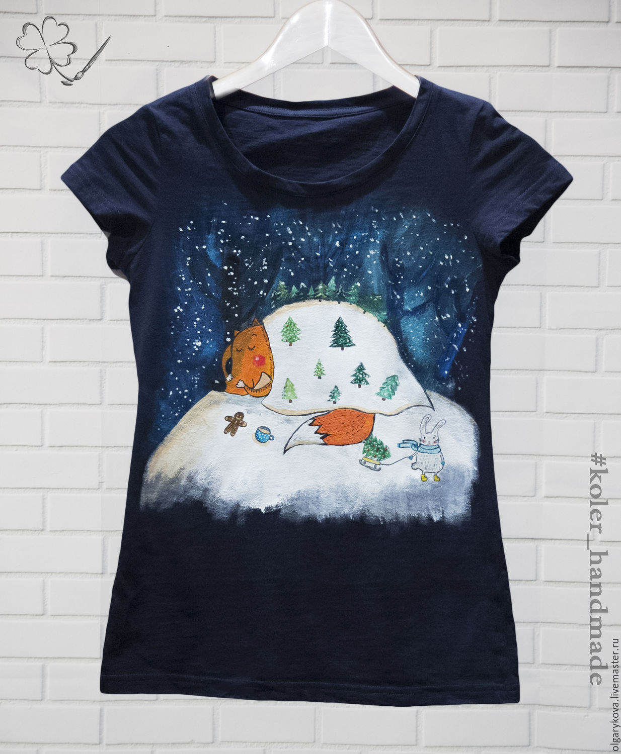 T-shirt painting 'Winter in the woods', T-shirts, St. Petersburg,  Фото №1