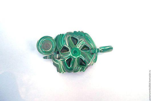фибула купить, зеленый, заколка для шали, малахит, заколка с палочкой