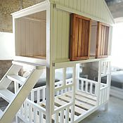 Для дома и интерьера handmade. Livemaster - original item Two-tiered children`s cabin bed made of solid cedar. Handmade.