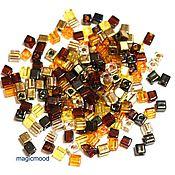 Материалы для творчества handmade. Livemaster - original item 10gr seed Beads Miyuki 3 mm cube mix 04 wheat Japanese seed beads Miyuki. Handmade.