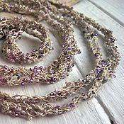 Украшения handmade. Livemaster - original item beads scarf long knitted choker lariat decoration linen beige. Handmade.