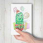 Открытки ручной работы. Ярмарка Мастеров - ручная работа Почтовая открытка - праздничный кактус. Handmade.