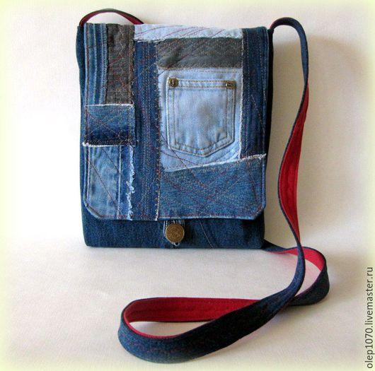 Джинсовая сумка-планшет молодежная. Ручная работа