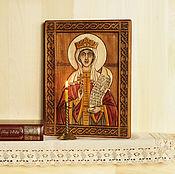 Картины и панно ручной работы. Ярмарка Мастеров - ручная работа «Святая Параскева Пятница» - икона резная из дерева. Handmade.
