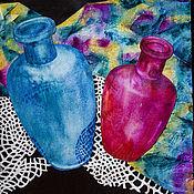 Картины и панно ручной работы. Ярмарка Мастеров - ручная работа Декоративный контрастный натюрморт «Две бутылки». Handmade.