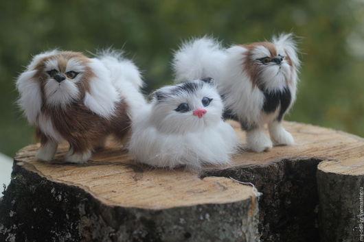 Куклы и игрушки ручной работы. Ярмарка Мастеров - ручная работа. Купить Собачка и кошка из меха. Handmade. Бежевый, собачка