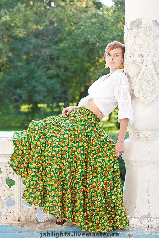 """Этническая одежда ручной работы. Ярмарка Мастеров - ручная работа. Купить Длинная юбка """"Листопад"""". Handmade. Юбка длинная, зеленый"""