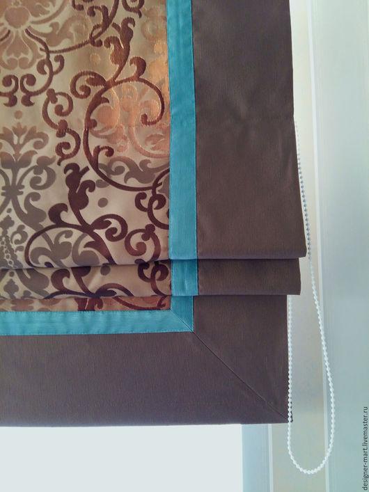 """Текстиль, ковры ручной работы. Ярмарка Мастеров - ручная работа. Купить Римская штора """"Мята и шоколад"""". Handmade. Коричневый, лён"""