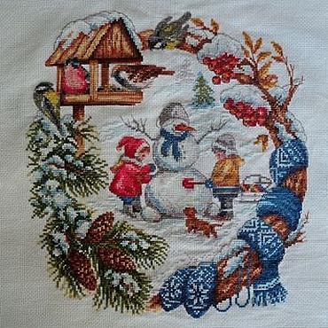 Для дома и интерьера ручной работы. Ярмарка Мастеров - ручная работа Зимние забавы вышитая крестиком картина. Handmade.