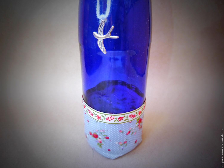 """Бутылка-ваза """"Красно-синяя"""""""