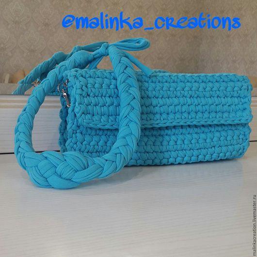 Стильный вязаный клатч Blue Sea от Malinka_Creations Отлично сочетается с плетеным колье