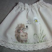 Работы для детей, handmade. Livemaster - original item Children`s flax skirt painted...the hedgehog )). Handmade.