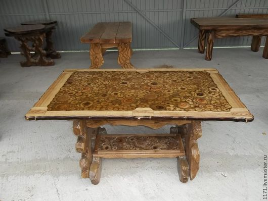 Мебель ручной работы. Ярмарка Мастеров - ручная работа. Купить стол со спилами-2. Handmade. Коричневый, авторский декор