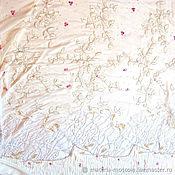 Ткани ручной работы. Ярмарка Мастеров - ручная работа Вышивка на шифоне от Valentino драпировка бахрома белый Италия. Handmade.