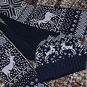 Одежда ручной работы. Ярмарка Мастеров - ручная работа Шарф и шапка с оленями. Handmade.