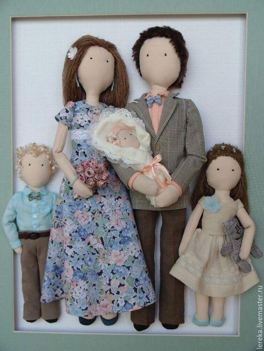 Коллекционные куклы ручной работы. Ярмарка Мастеров - ручная работа. Купить Семейный портрет из текстильных кукол. Handmade. Подарок на юбилей